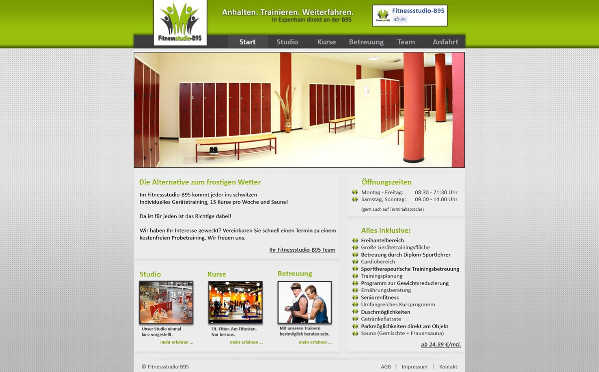 Fitnessstudio B95 - Firmenwebseite